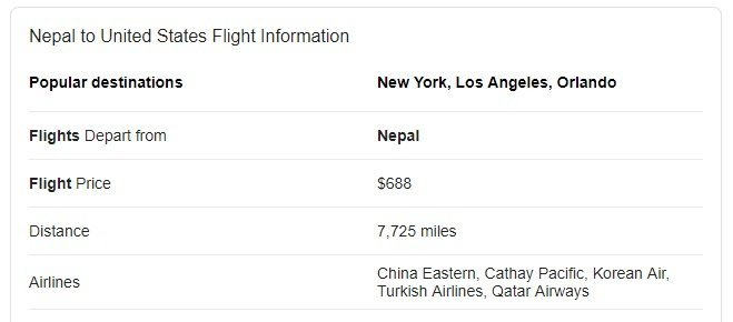 Nepal to United States Flight Information