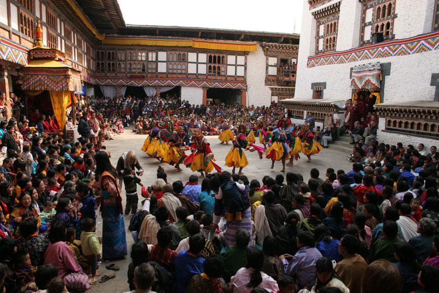 Paro Tsechu held at Rimpung Dzong