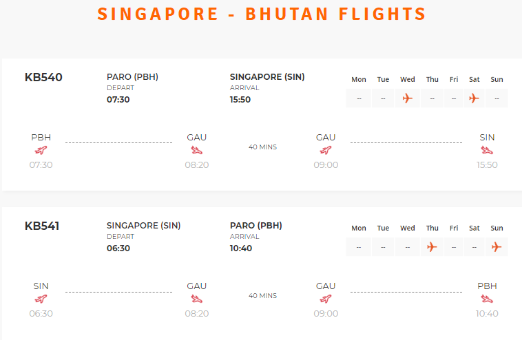 Singapore to Bhutan Flight schedule
